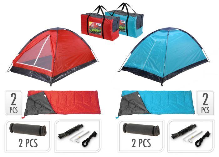 Set-da-campeggio-inclusi-tenda,-2-sacchi-a-pelo,-2-materassini-+-borsa-da-viaggio