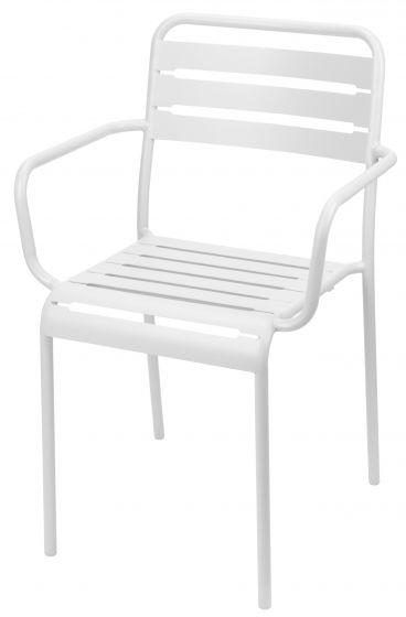 Sedia-impilabile-con-braccioli-bianca-in-acciaio