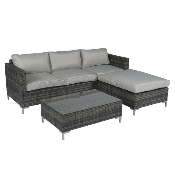 Set-lounge-con-divano-ad-angolo-grigio-in-vimini---Gris---Pure-Garden-&-Living