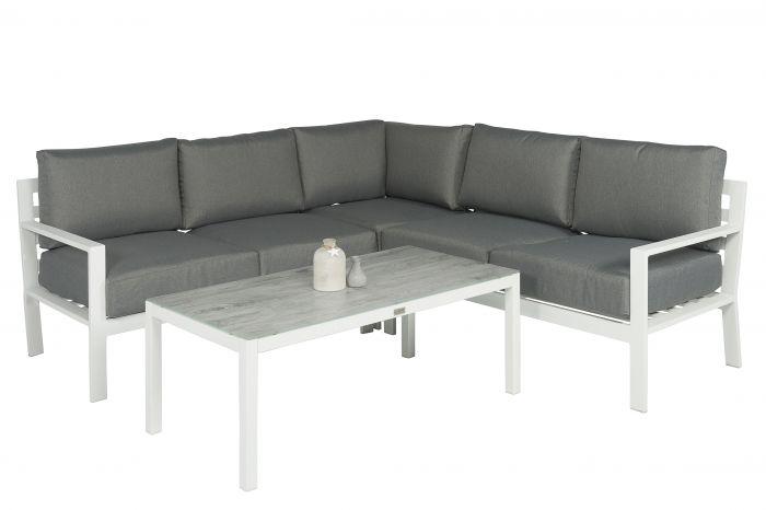 Divano Angolare Bianco.Set Lounge Con Divano Angolare Alluminio Jakarta Bianco Grigio Pure Garden Living