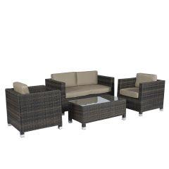 """Set-lounge-area-salotto-""""Bari""""---Pure-Garden-&-Living-marrone-in-vimini"""