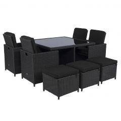 """Set-lounge-da-pranzo-""""Cube""""-nero-in-vimini---Pure-Garden-&-Living"""
