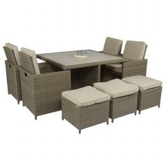 "Set-lounge-da-pranzo-""Cube""-nero-in-vimini---Pure-Garden-&-Living"