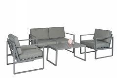 """Set-lounge-angolare-Alluminio-""""Dubai""""---Grigio-scuro---Pure-Garden-&-Living"""