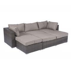 "Set e isola lounge ""Tripoli"" in vimini grigi - Pure Garden & Living"
