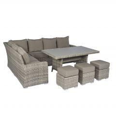 """Set lounge con divano ad angolo in vimini """"Monaco"""" - Cappucino nature  - Pure Garden & Living"""