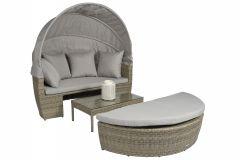 "Lettino-lounge-Polyrattan-""Santorini""---Naturel-Talpa---Pure-Garden-&-Living"