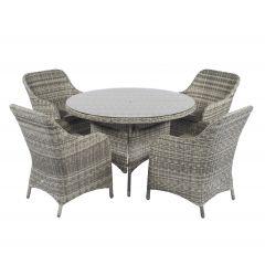 """Set lounge da pranzo in vimini """"Miami"""" - Cappucino nature - Pure Garden & Living"""