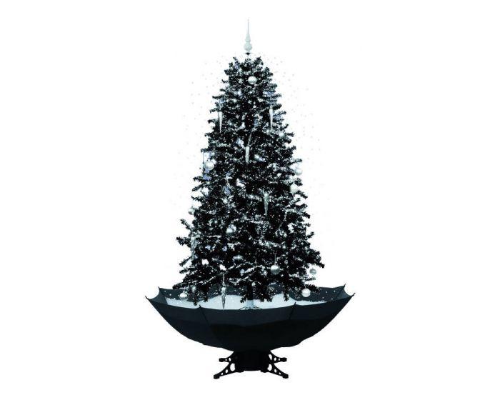Albero di natale nero con neve 170cm