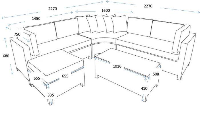 Set lounge con divano ad angolo \