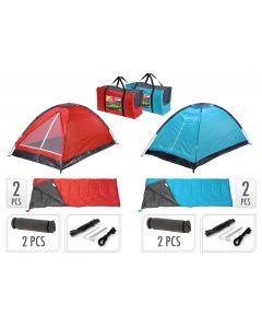Set da campeggio inclusi tenda, 2 sacchi a pelo, 2 materassini + borsa da viaggio