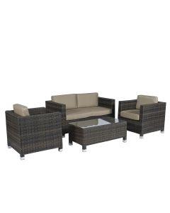 """Set lounge area salotto """"Bari"""" - Pure Garden & Living marrone in vimini"""