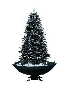 Albero di natale nero con neve 180cm