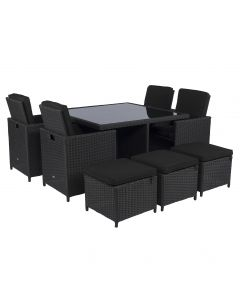 """Set lounge da pranzo """"Cube"""" nero in vimini - Pure Garden & Living"""
