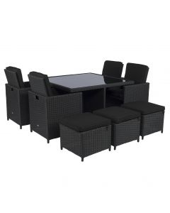 Set lounge da pranzo Pure Garden & Living Cube nero in vimini