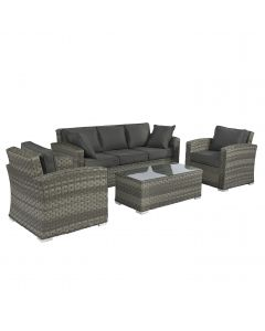 "Set lounge in vimini ""Cairo"" - Elegant Grigio - Pure Garden & Living"