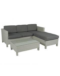Set lounge con divano ad angolo a 3 posti Pure Garden & Living grigio chiaro in vimini