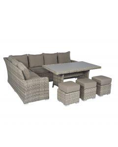 Set lounge con divano ad angolo Pure Garden & Living Cappucino color nature in vimini