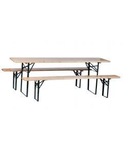 Set tavolo e panche da birreria 200cm 3 pezzi