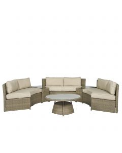 "Lounge set divano angolare in wicker ""Honolulu"" - Nature - Pure Garden & Living"