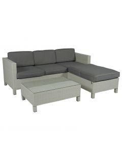 """Set lounge con divano """"Lima"""" ad angolo grigio chiaro in vimini - Pure Garden & Living"""
