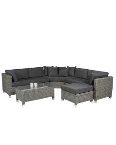 """Set lounge con divano ad angolo """"Mississippi"""" gris in vimini - Pure Garden & Living"""