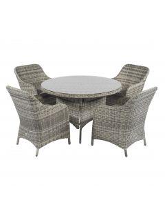 Set lounge da pranzo Pure Garden & Living Cappucino color nature in vimini